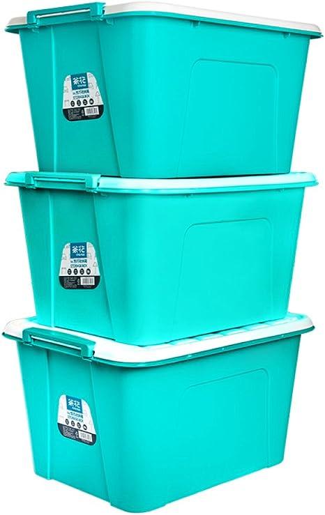 XFF Caja de Almacenamiento de plástico Caja de casa Grande Espacio Extra Grande Tres Juegos de Libros Caja de Almacenamiento Caja de Almacenamiento de Acabado 3 Pack,Verde,3 Paquetes: Amazon.es: Deportes y aire