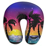 SARA NELL Memory Foam Neck Pillow Hawaii Sea Palm Trees U-Shape Travel Pillow Ergonomic Contoured Design Washable Cover For Airplane Train Car Bus Office