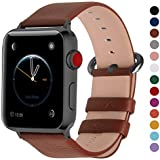 Fullmosa Genuine Leather Strap 44mm 42mm for Apple iWatch Series 4/3/2/1, Brown + Smoky Grey Buckle(Watch Not Included)