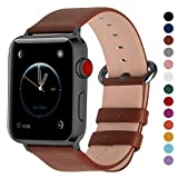 Fullmosa Compatible Smart Watch Band 44mm 42mm 40mm 38mm, Genuine Leather Band Compatible Watch Series 4, Series 3, Series 2, Series1, 44mm 42mm Brown + Gunmetal Buckle