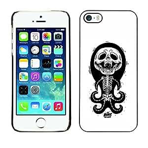 Shell-Star Arte & diseño plástico duro Fundas Cover Cubre Hard Case Cover para Apple iPhone 5 / iPhone 5S ( Octopus White Black Funny Skull Skeleton )