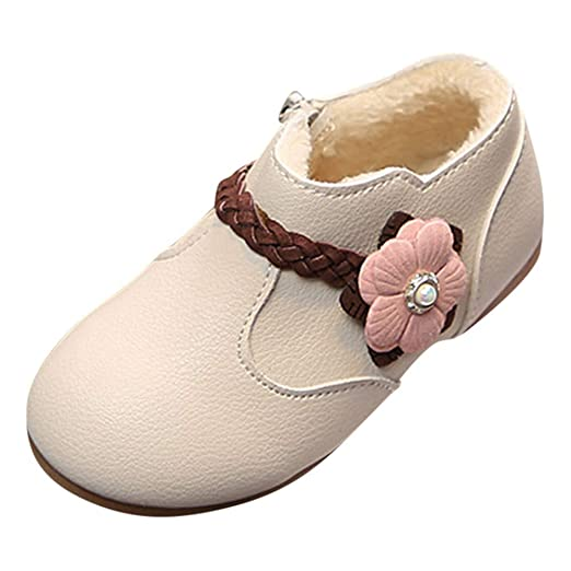 Baby Girl Moccasins Warm Lined Cotton Zip Flower Weave Princess Soft Sole First Walkers Shoes (