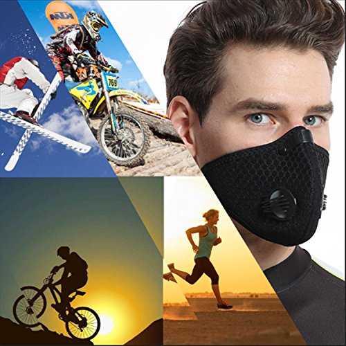 Dustproof Masks - Activated Carbon Dust Mask with Extra Filter Cotton Sheet and Valves for Exhaust Gas, Pollen Allergy, PM2.5, Running, Cycling, Outdoor Activities (4 Set Black and Blue, Dust Masks) by Novemkada (Image #6)