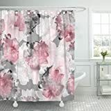 Hot Pink and Brown Shower Curtain Breezat Shower Curtain Floral Tropical Peony Hibiscus Pink Flowers Blossom Amazing Collage Light Trend Color for Natural Waterproof Polyester Fabric 72 x 72 Inches Set with Hooks
