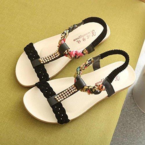 Internet Sandalias Mujeres Negro verano sandalias elástica verano casual de correa qfTAxvHw