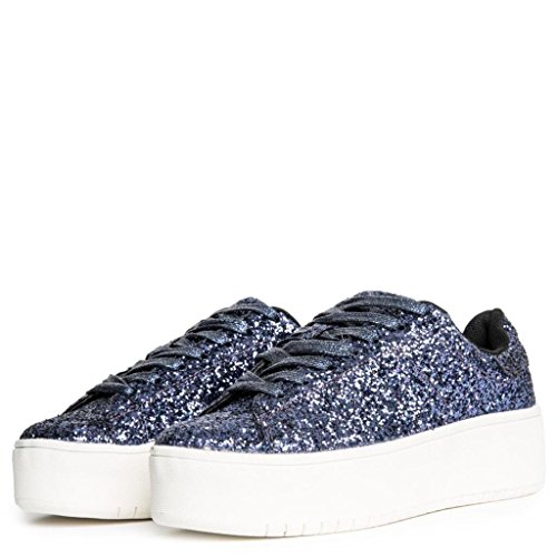 Cape Robbin Womans Shiny Glitter Platform Fashion Sneaker Kaykay-1 Dark-blue B3UOEP