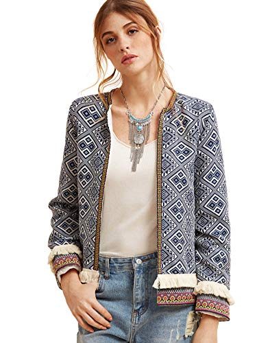 Milumia Women's Contrast Embroidered Tape Fringe Trim Tribal Tweed Blazer Multicolored-2 -