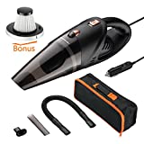 Homeleader Car Vacuum Cleaner, Wet&Dry Portable Handheld Auto Vacuum Cleaner with 4.2Kpa Strong Suction,DC 12-volt 106W High Power, 16.4Ft Power Cord with One Carry Bag(Black & Orange)