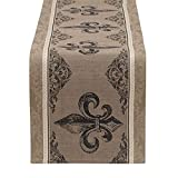 DII COSD35170 100% Cotton, Machine Washable, Everyday French Stripe Kitchen Table Runner for Dinner Parties, Events, Decor, 14x72 Fleur de Lis