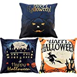 Gejoy 4 Pieces Halloween Square Pillow Case Back Cushion Cover for Halloween Sofa Bedroom Decoration, 18 by 18 inch (Color Set 3)