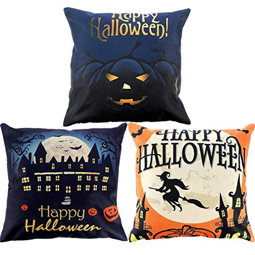 (Gejoy 4 Pieces Halloween Square Pillow Case Back Cushion Cover for Halloween Sofa Bedroom Decoration, 18 by 18 inch (Color Set)