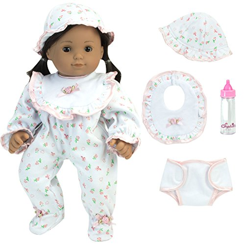 (Sophia's Complete Gift Set of 15 Inch Baby Doll PJ's and 4 Matching Accessories & Gift Bag! White Floral Print Sleeper, Hat, Bib, Diaper and Bottle Doll Clothes)