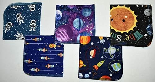 1 Ply Printed Flannel Washable. Out of This WORLD- Set Napkins 12x12 inches 5 Pack - Little Wipes (R) Flannel by Gina's Soft Cloth Shop