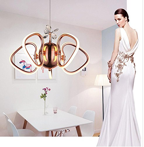 DMMSS Crystal Chandelier Modern Simple Lighting Heart-Shaped Creative Club Lighting Villa Staircase Restaurant Crystal Led Rose Gold Lamps by DMMSS Lamp