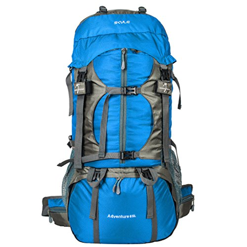 SKYLE 65l Waterproof Hiking Backpack Internal Frame Trekking Bag with Rain Cover for Camping Mountaineering Climbing Backpacking BE