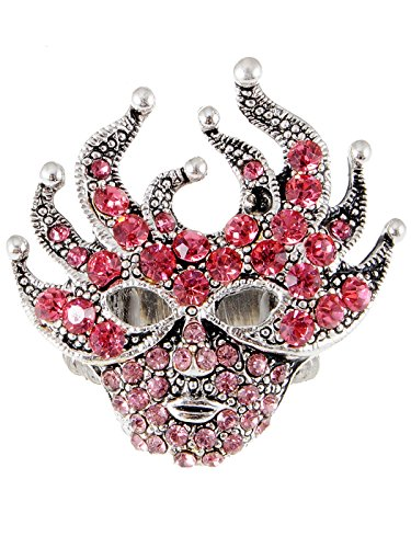 Alilang Womens Adjustable Antique Silvery Tone Pink Mardi Gras Masquerade Party Mask Ring