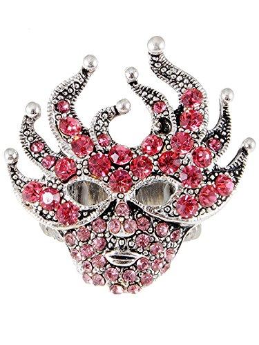Alilang Womens Adjustable Antique Silvery Tone Pink Mardi Gras Masquerade Party Mask Ring ()