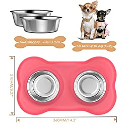 Pawaboo Pet Dog Cat Bowls, Premium Stainless Steel Pet Feeder with Food Grade Bone Shaped Rubber Base, 4.33 Inch Diameter Bowls for Pet Dog Cat Food or Water, Set of 2, Small Size, PINK