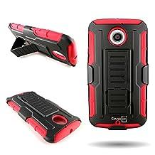 CoverON® for Motorola Moto X 2nd Gen Holster Case [Trekker Series] Hybrid Belt Clip Holster Protective Armor Phone Cover with Kickstand - Red + black
