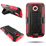Motorola Moto X 2nd Generation (2014) Case, by CoverON Dual Layered Holster Case stand Belt Swivel Clip Combo (Titan Explorer Series) for Motorola Moto X 2nd Gen. - Red + Black