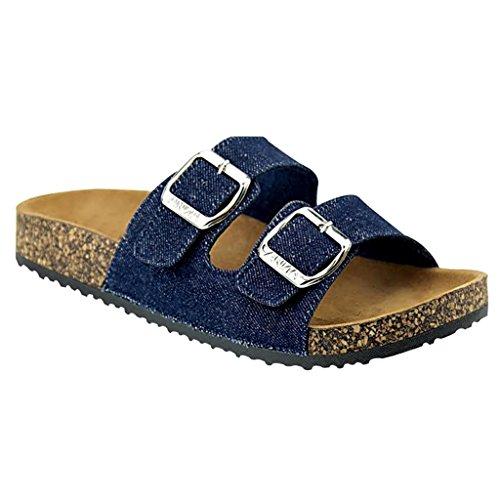 Strap Sandals Blue - Women's Casual Buckle Straps Flip Flop Footbed Sandals (Denim Blue)