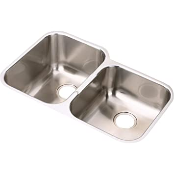 Elkay Eguh312010r Offset Double Bowl Undermount Stainless Steel
