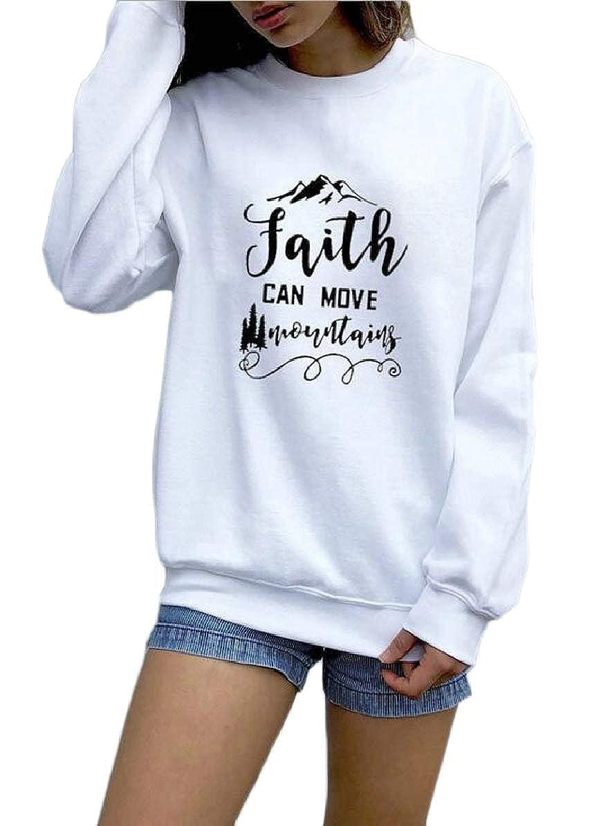 FLCH+YIGE Womens Letter Print Slim Sweatshirt Pullover Tops Blouse