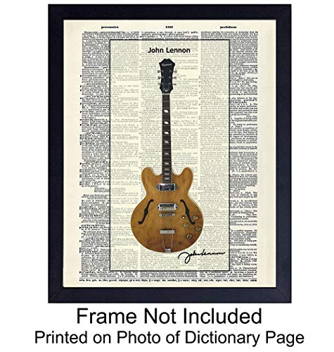 John Lennon's Guitar Upcycled Dictionary Wall Art Print - Vintage 8x10 Unframed Photo - Great Gift for Musicians and Beatle Fans - Cool Home Decor