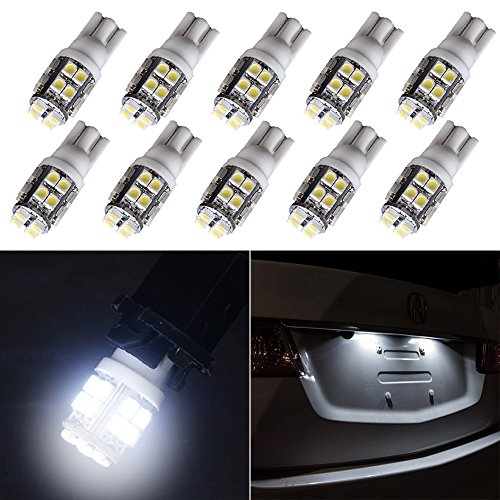 cciyu T10 194 168 Light Bulb 20-SMD Side Wedge Super White LED Light Lamps Replacement fit for License Plate Lights,10Pack