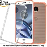 Moto Z Force Case (Not for Moto Z) with Enhanced Corner Protection,Shalwinn Premium Crystal TPU Case for Motorola Moto Z Force Droid Edition [2 PACK] (Orange+Clear)