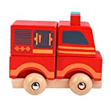 Chinatera Wooden Mini Fire Truck Vehicle Blocks Toy Disassembly Car Baby Kids Gift Car Toys