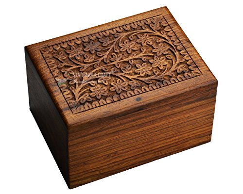 STAR INDIA CRAFT Wooden Tree of Life Urn for Human Ashes, Rosewood Cremation Urn, Handmade Wood Urn Box for Ashes - Burial Pet urn for Dogs Ashes, Keepsake Box, Dog Urn,Cat Urn (Brown, S - 65 Cu/in)