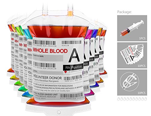 [Reusable Live Blood Drink Bag for Theme Parties Vampire Blood Bags for Halloween Party Christmas Carnival Drink Container With Syringe Set of 10 Bags, 10] (Halloween 10)