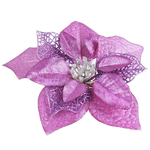 Purple Pack of 12 Glitter Artificial Wedding Christmas Flowers Glitter Poinsettia Christmas Tree Ornaments (Purple)