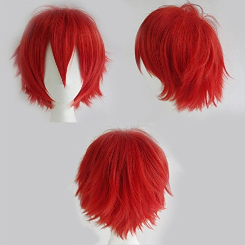 S-noilite Unisex Cosplay Short Fluffy Straight Hair Wig Women Mens Rock Cartoon Anime Con Party Dress Wigs Red -