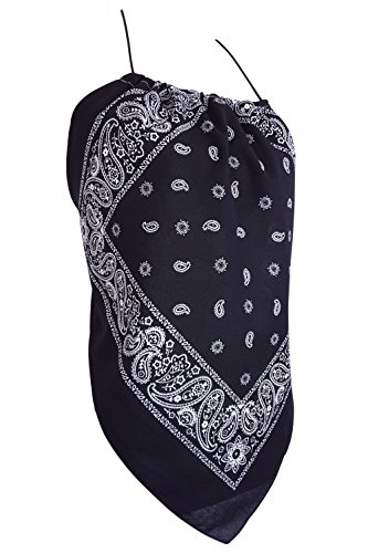 Downright Bandanas Bandana Halter Top Shirt - Womens Clothing (Black)