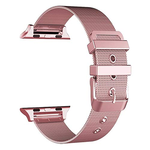 Buckle Gold Mesh (Rose Gold Stainless Steel Smart Watch Band Buckle, Milanese Mesh Loop Replacement Watch Band Compatible iPhone Watch Series 4/3/2/1 (44mm/42mm))