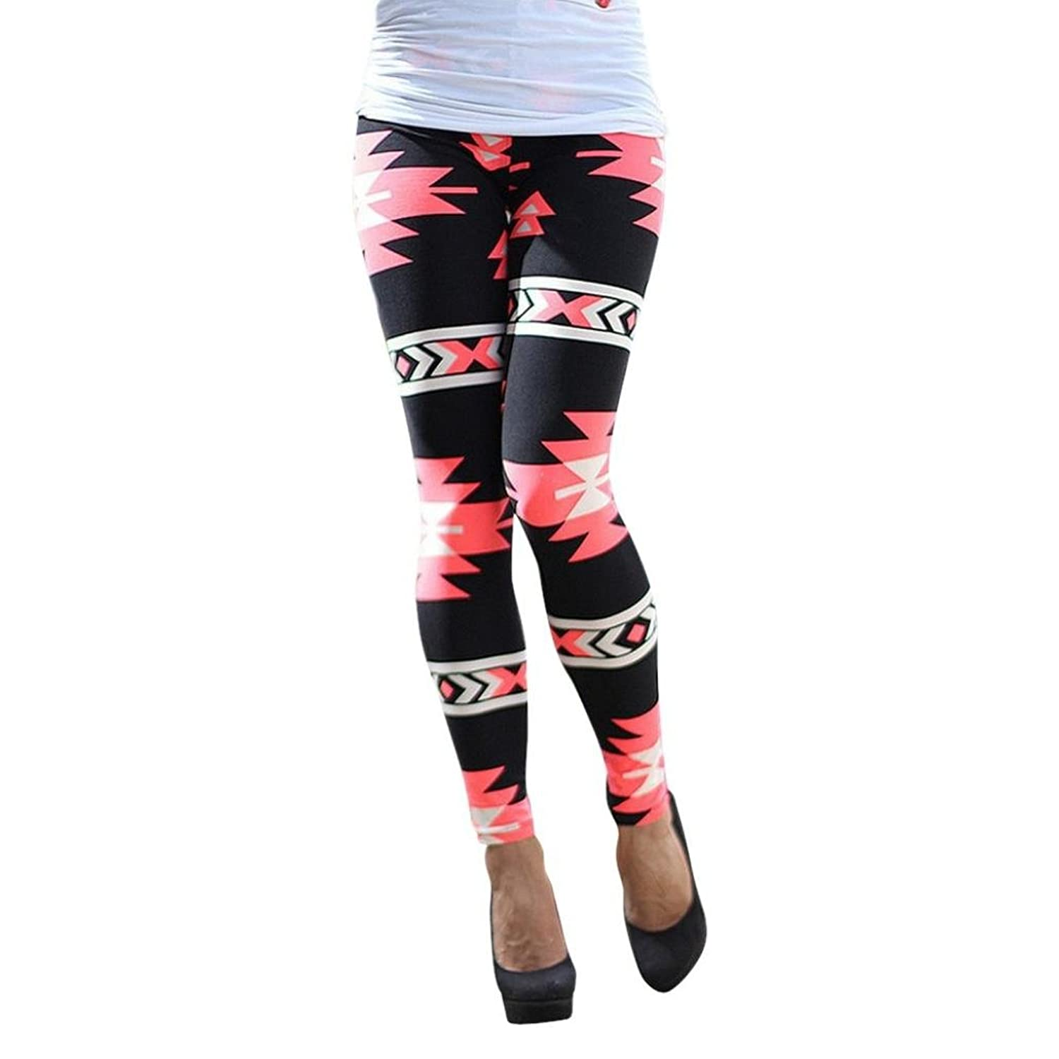 Malloom Women Geometric Print Elastic Leggings Casual Slim Fit Leggings Pants