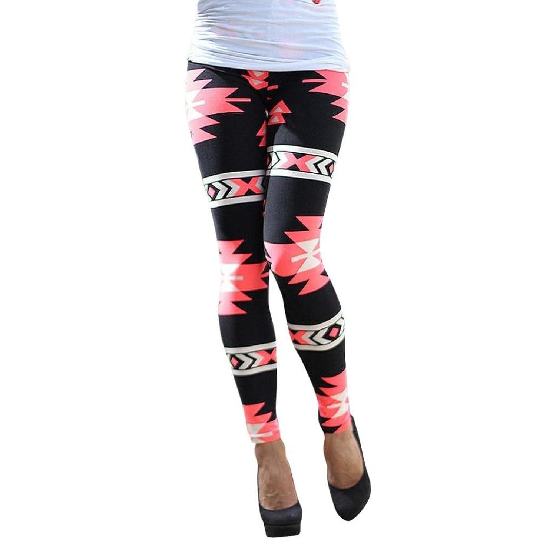 Malloom Women Geometric Print Elastic Leggings Casual Slim Fit Leggings Pants