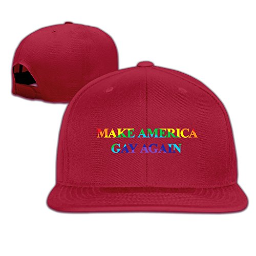 [CEDAEI Make America Gay Again Flat Bill Snapback Adjustable Ball Hat Red] (Gangster Hats For Sale)