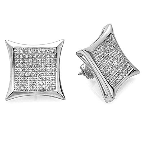0.50 Carat (ctw) Sterling Silver Diamond Kite Shape Mens Hip Hop Stud Earrings 1/2 CT by DazzlingRock Collection