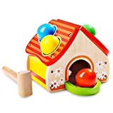 Kidsidol Baby Wooden Hammer Toy House Toy Small Hammer Knocking Balls Safe and Durable Educational Toy for 0-3 Years Baby Infant Kids