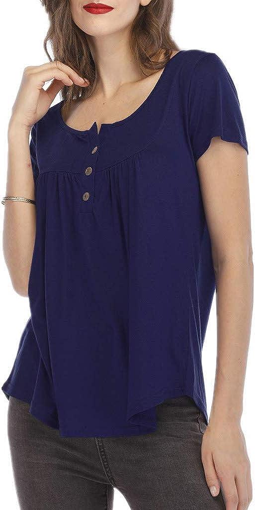 Teresamoon Womens Button Short Sleeve Crewneck Tunic T Shirts Casual Tops