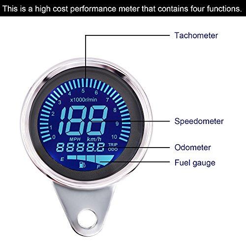 Digital Speedometer for Motorbike, TechCode LED Digital LCD Odometer 12V Universal Motorcycle LED LCD Tachometer Speedometer Multifunctional Modification Speedometer Instrumentation Aluminum Alloy Set by TechCode (Image #3)