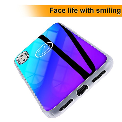 one X case, Ultra Thin 2018 Blue Light Mirror Case, Luxury Slim Fit Gradual Colorful Gradient Change Color Lightweight Anti-Drop Hard Back Cover Case For iPhone 10 X ()