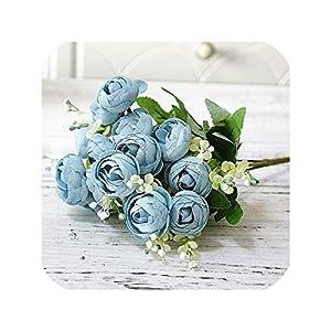 15 Heads Roses Artificial Flower Small Bouquet Silk Flower Tea Rose for Farmhouse Home Decoration Fake Flower,Light Blue 31