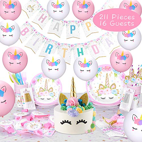 Candle Topper Case - Keemanman Unicorn Party Supplies Kit, 211 PCS Ultimate Unicorn Birthday Party Decorations Set with Gift Box Packing, including Cake Topper, Headband, Swirl Candles, Balloons and More, Favors Serves 16