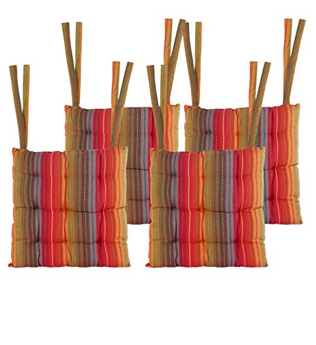 Cotton Craft - Set of 4-17x17 Inches - Red- Multi Salsa Stripe Dining Chair Pad Cushion with Ties Chair One Cushion Set