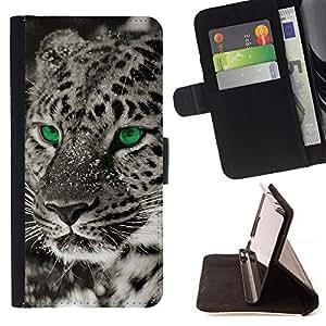 BullDog Case - FOR/Sony Xperia Z1 L39 / - / eyes black white photo leopard winter /- Monedero de cuero de la PU Llevar cubierta de la caja con el ID Credit Card Slots Flip funda de cuer