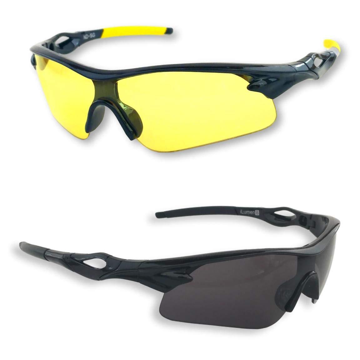 iLumen8 Best Shooting Glasses UV Blacklight Flashlight Yellow Safety Eye Protection See Dog Cat Urine with Amber Black Lights Night Vision Ultraviolet (Yellow & Black, 2 Pair)